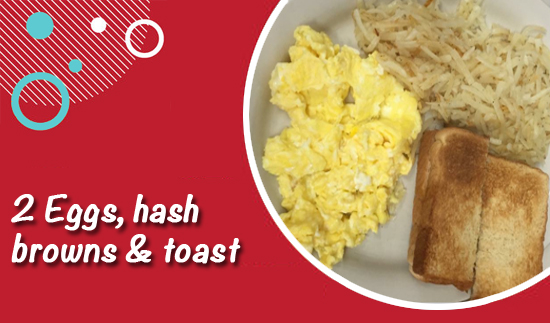 Scrambled eggs, hash browns and toast